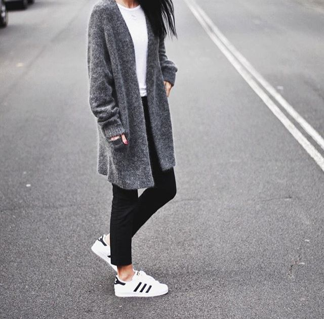 white tee shirt, black Jeans/leggings, grey cardigan, adidas shoes More