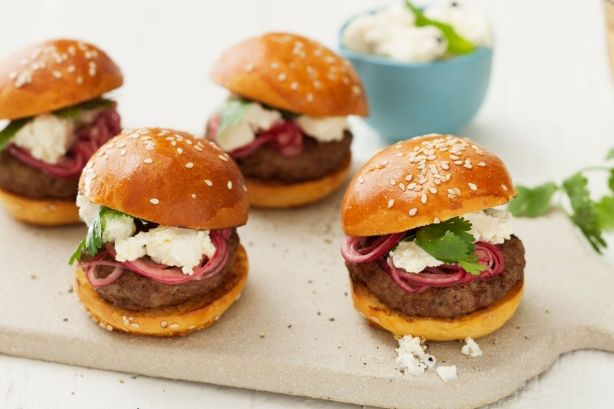 Entertain the hungry hordes with these Moroccan lamb sliders with feta and pickled red onion. Proudly brought to you by Lemnos and the Taste team.
