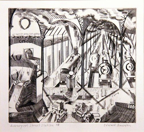 """""""Liverpool Station"""" by Edward Bawden, c.1927-29 (copper engraving)"""