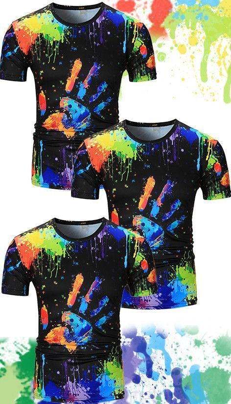 Casual Shirts Shirts Honest Streetwear Young Man Hip Hop Blusa Novelty Paint Printed Shirt Short Sleeve Loose Men Tops Colorful Print Boy Club Clothes M-2xl Customers First