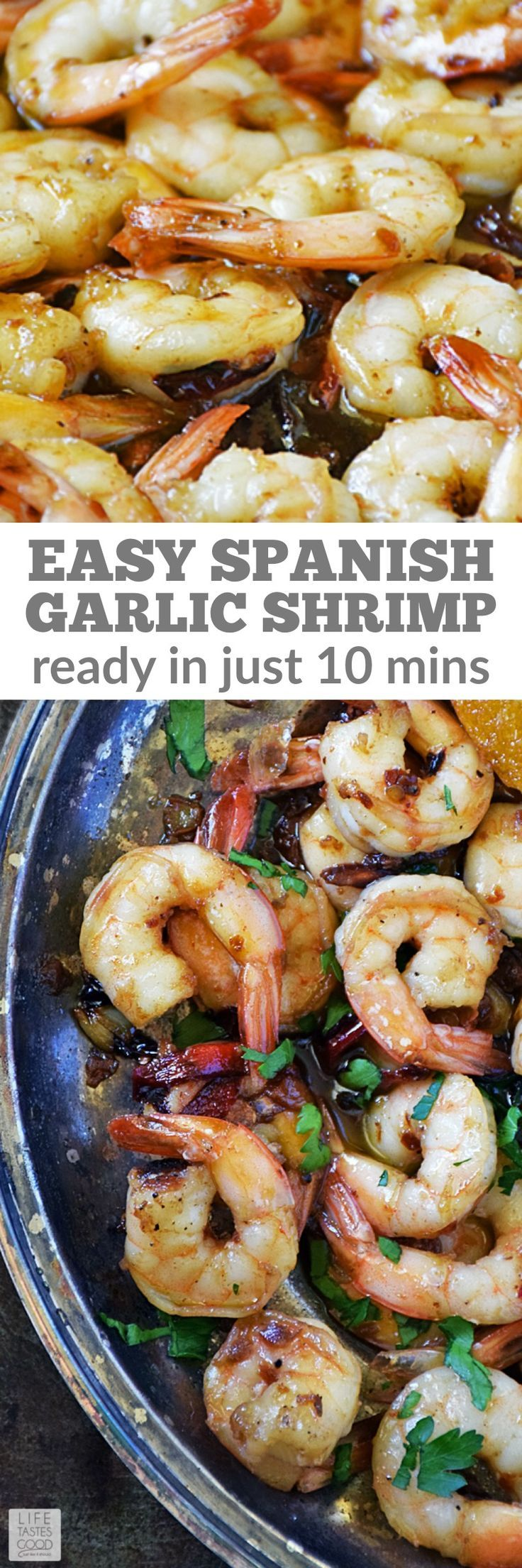 Spanish Garlic Shrimp, (Gambas al Ajillo) | by Life Tastes Good is a popular Spanish tapas because it is insanely delicious and an easy recipe to make too! Great for a party appetizer, snack, or light meal! #LTGrecipes #SundaySupper #cincodemayo #easyrecipe #shrimprecipe