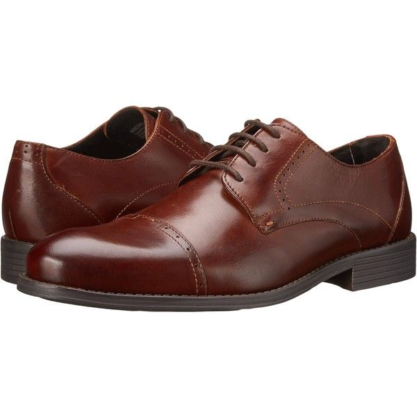 Stacy Adams Radford (Brown) Men's Lace Up Cap Toe Shoes ($45) ❤ liked on Polyvore featuring men's fashion, men's shoes, men's dress shoes, brown, mens lace up dress shoes, mens oxford shoes, mens brown shoes, stacy adams mens shoes and mens brown oxford dress shoes