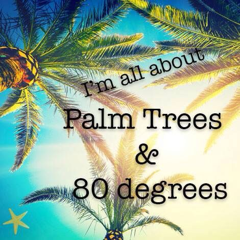 Gotta love palm trees and 80 degree weather,,,add in the beach with and you're good to go!!:):)
