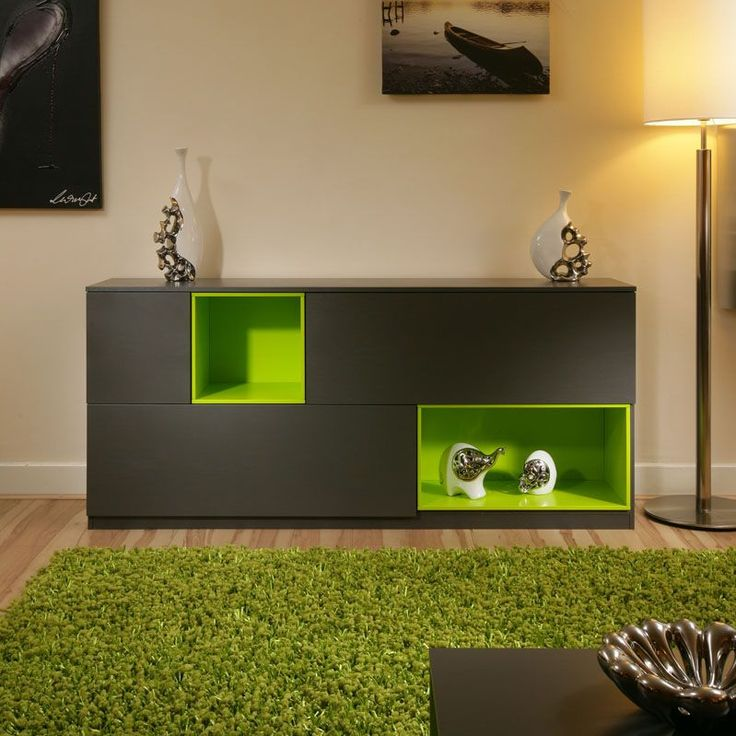 Beautiful Dining Room Sideboard Buffet Grey Lime Green Modern