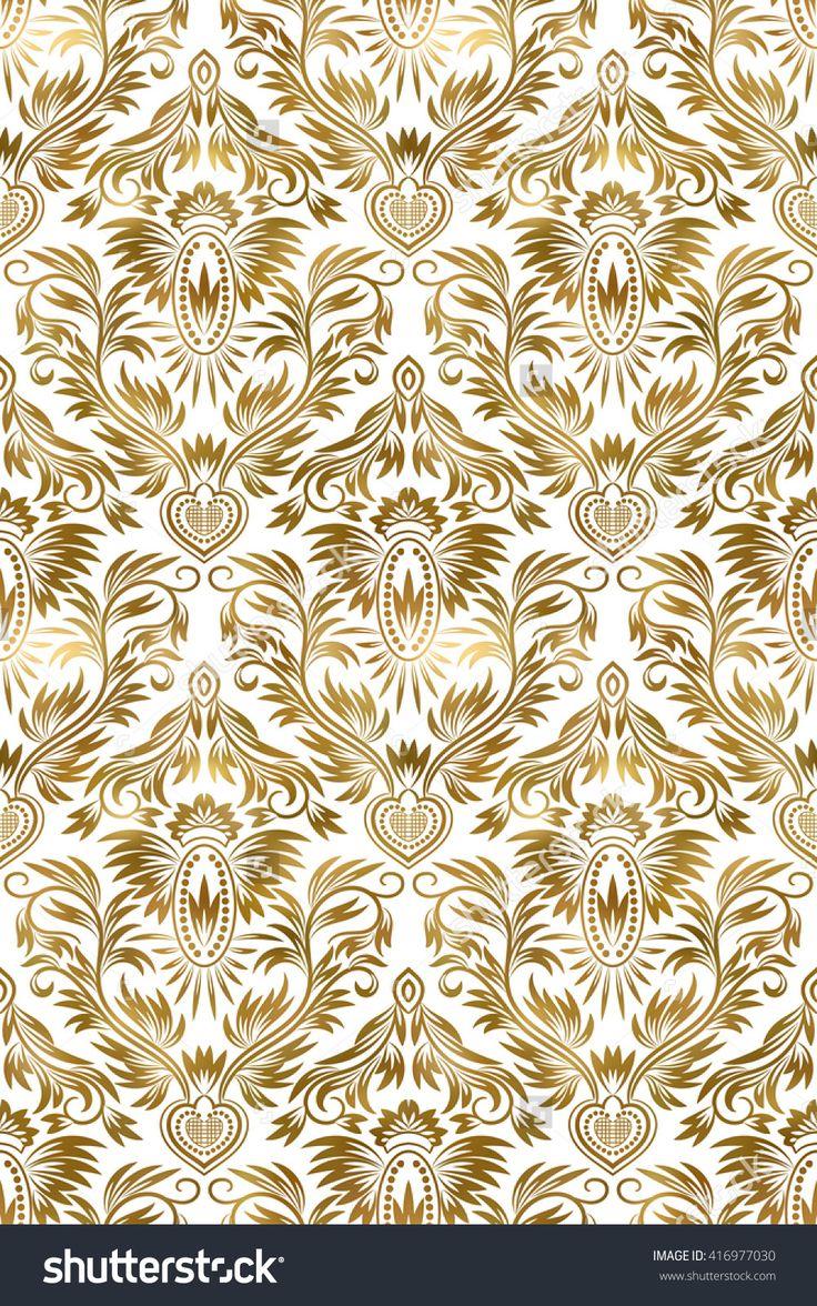 Golden White Vintage Seamless Pattern. Gold Royal Classic Baroque Wallpaper…
