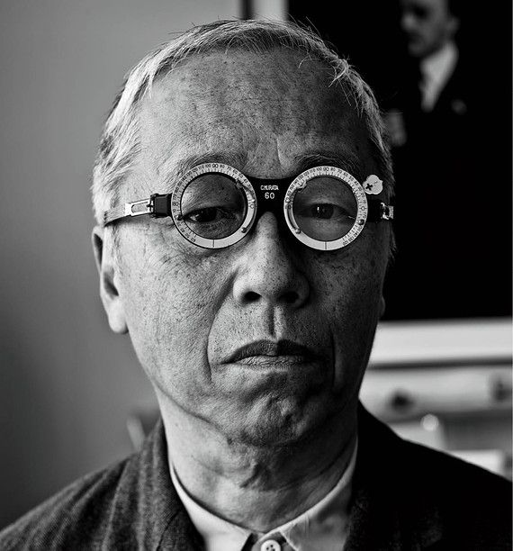 Hiroshi Sugimoto in a pair of optical trial frames from a Japanese flea market