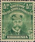 British South Africa Company, 1.9.1913, King George V., No.124, 1/2P green. Stamped 1,10 USD. Unused 5,49 USD.