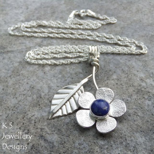 444 best sterling silver jewelry images on pinterest silver lapis lazuli flower and leaf sterling silver pendant gemstone floral jewellery mozeypictures Images