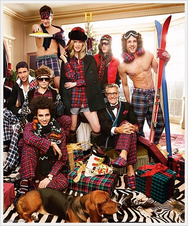 Full of tartan patterns, this campaign surely features plenty of playful outfits suit appropriately for the season, started from pants, shorts, jackets, scarves, to slippers, the collection embodies the fun even cheerier than last season.    Tommy Hilfiger Holiday 2011 Ad Campaign