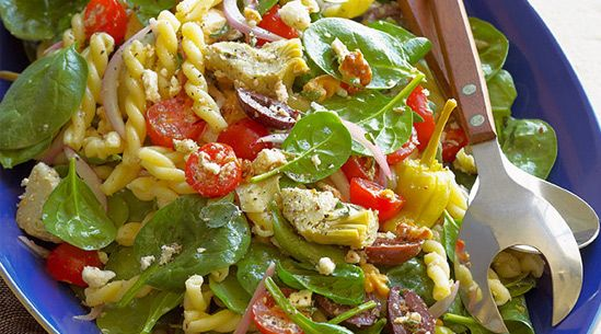 Greek Spinach-Salad Pasta with Feta, Olives, Artichokes, Tomatoes and Pepperoncini: Recipe, Greek Salads Mail, Artichokes, Spinach Salad Pasta, Spinach Pasta, Made, Spinach Salads, Greek Spinach Salad, Weeknight Dinners