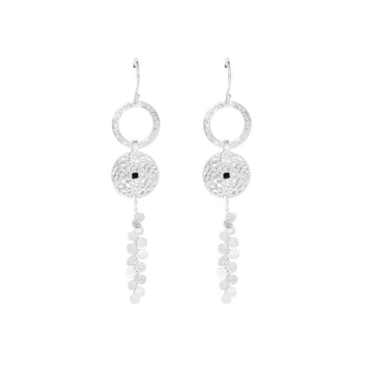 Murkani - Grace Long Disc Earrings Sterling Silver