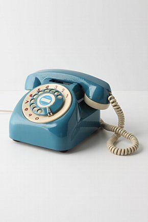 blue vintage phone