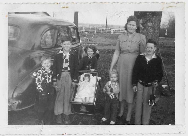 Vintage Old 1940's Photo Little Girls Boys DOLL CRIB Toys Mom & 5 Kids on Farm