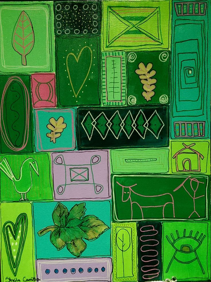 """Green Heart"" Acrylic painting by Sheila Camilla Acrylic and collage on canvas ©Sheila Camilla Nielsen 2015"