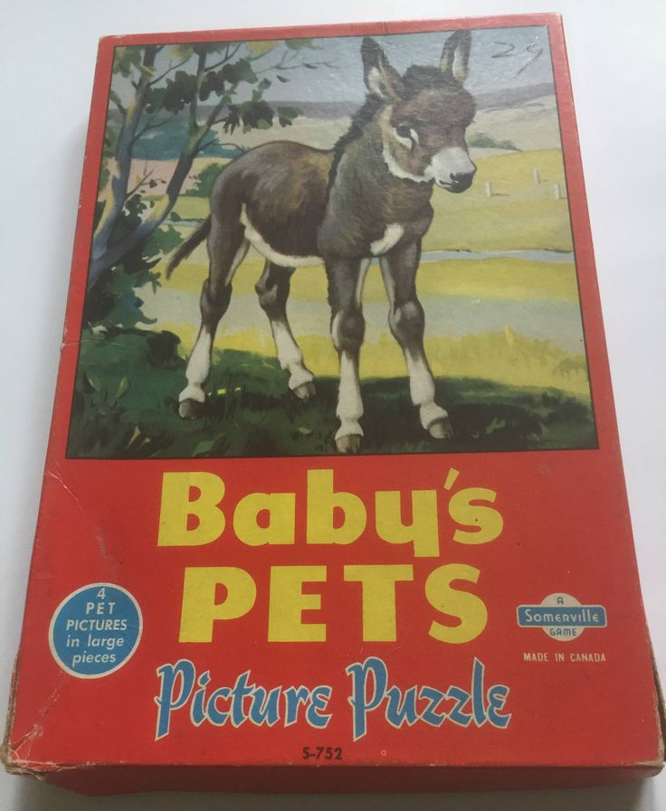 Baby's Pets Vintage Picture Puzzle, Child's Puzzle Set, Vintage Puzzle, Retro Puzzle Set, Large Piece Puzzle by ChezShirlianne on Etsy