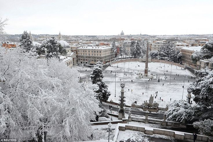 Piazza del Popolo (The People's Square) in Rome is seen covered in snow after much of Europe was hit by bitterly cold weather
