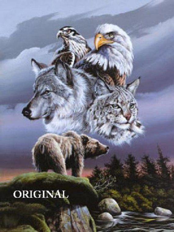Wolf Eagle Hawk Bear Lynx Counted Cross Stitch