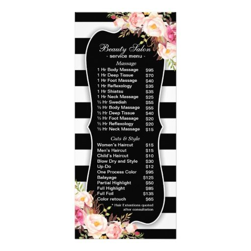 Floral Black And White Striped Salon Service Menu