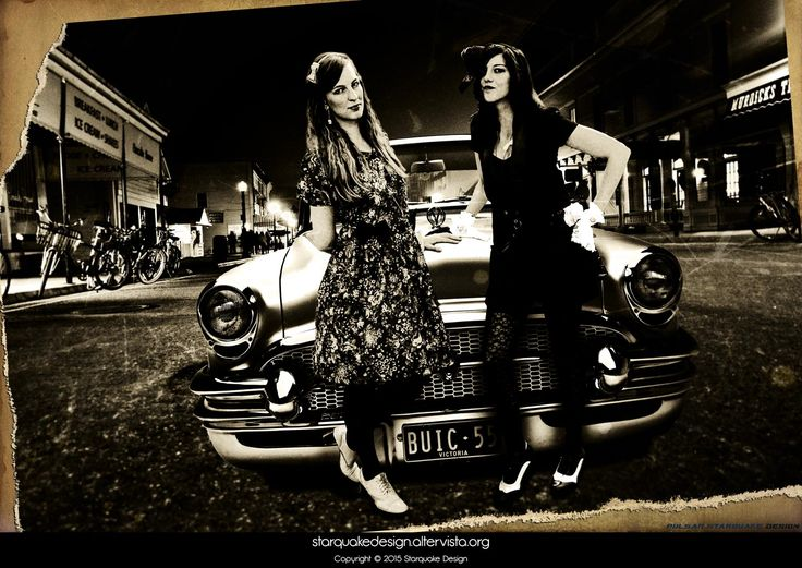 Back to the 50s - December 2014 I wanted to do something retro, inspired by the style of clothing of my two friends. #photoediting #oldphoto #50s #sepiaeffect #starquakedesign   CREDITS: Models: Zsanett Fulop (left), Francesca Stabellini (right).