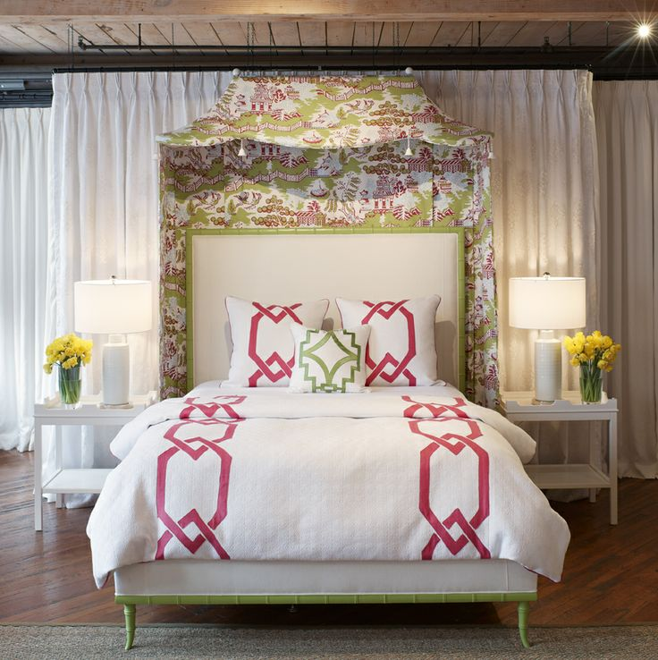 Thibaut Fine Furniture Showroom in High Point, located at # 315 Historic Market Square. Seen here: Darien Upholstered Queen Bed in Bleach #fabric finished in Blooming Grove by #BenjaminMoore; custom Pagoda canopy in Luzon in Green and Raspberry.  #ThibautFineFurniture #Thibaut