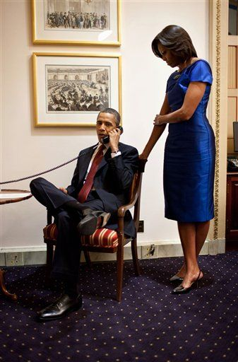 In a phone call from the Capitol immediately after the State of the Union address last night, President Obama informs John Buchanan that his daughter Jessica, a kidnapped aid worker, was rescued by U.S. Special Operations Forces in Somalia earlier that evening. Official White House photo by Pete Souza