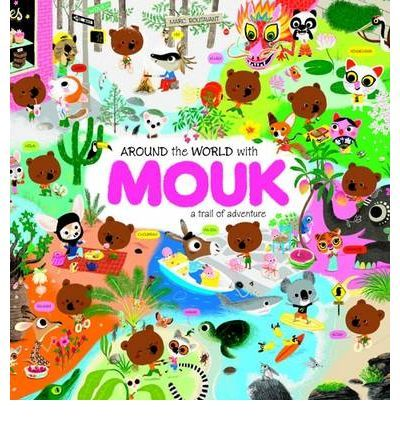 Around the World with Mouk by Marc Boutavant. Bright colours, thick pages, padded cover, reusable stickers and so many things to explore within the pages.