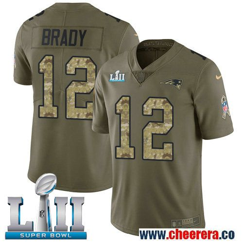 Nike Patriots 12 Tom Brady Olive Camo 2018 Super Bowl LII Salute To Service Limited Jersey