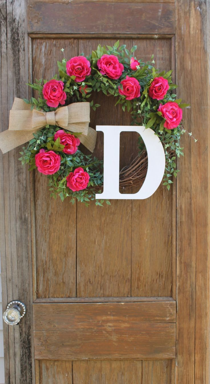 Personalized front door decorations - Initial Wreath Monogram Wreath Personalized Wreath Front Door Wreath Mother S Day Wreath Spring Wreath Pink Wreath Floral Wreath
