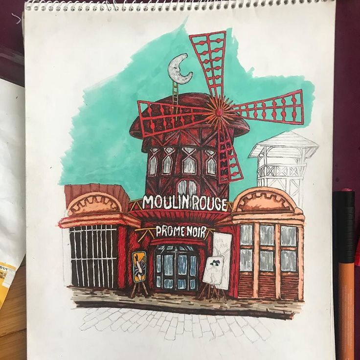 Progress report on the Moulin Rouge #illustration  Ran out of red so it's gonna be shelved for a while. #art #drawing #doodle #redlightdistrict #paris