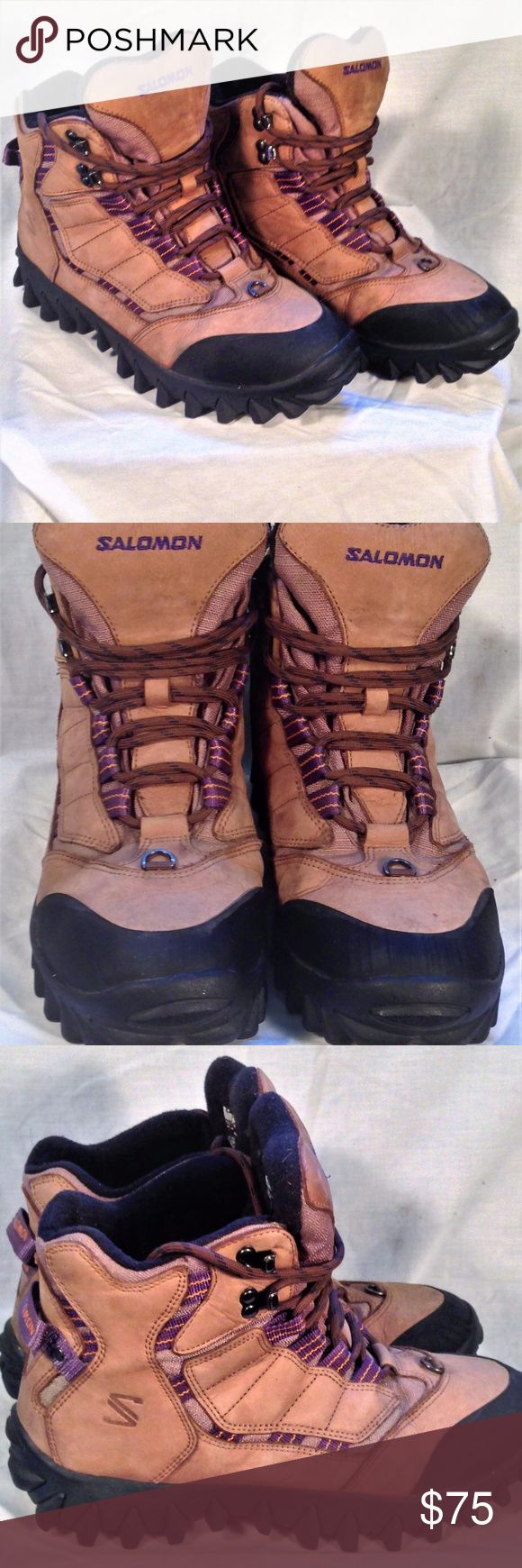 Salomon Size 10.5 Thinsulate Winter Snow Boots Salomon Men's Tan Thinsulate Winter Hiking Snow Boots Size 10.5  Thank You for choosing Kross Threads! Condition: Good Pre-Owned Condition. Small scuff on inside of right boot While we strive for perfection, If any flaws are found please contact us for a solution. Label: Salomon Material: Suede Leather Color: Tan Size: Men's 10.5 Country: China Our mission is to provide unique quality style to your wardrobe Salomon Shoes Boots