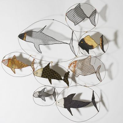Wire and fabric fish....I might try this with patterned papers.