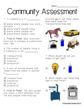 Community Changes Assessment and Study Guide | 3rd grade ...