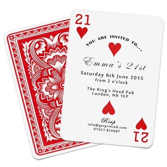 Personalised Playing Card Invitations Invites Birthday Wedding Save the Date Party Casino Las Vegas Poker Deck