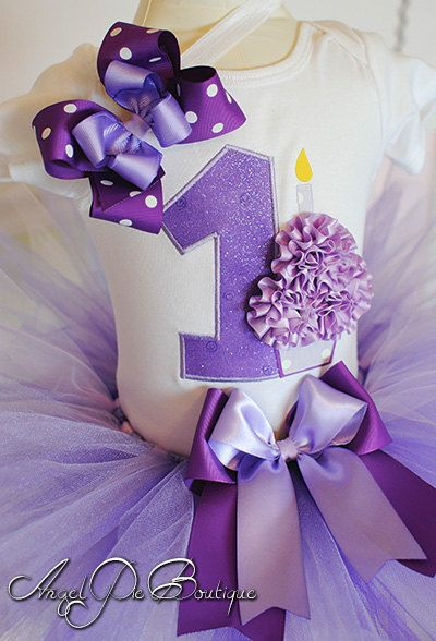 """Baby Girl's First Birthday Outfit - Number """"1"""" Applique with Small Cupcake Bodysuit, Tutu & Matching Headband - Shades of Purple"""