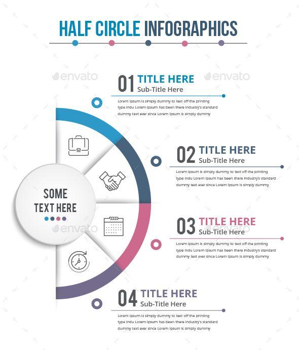 Half Business Circle Infographics (4 Steps) - Infographics