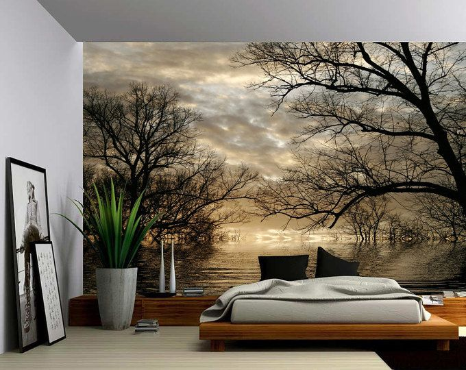 Autumn Tree Forest Lake Large Wall Mural Self Adhesive