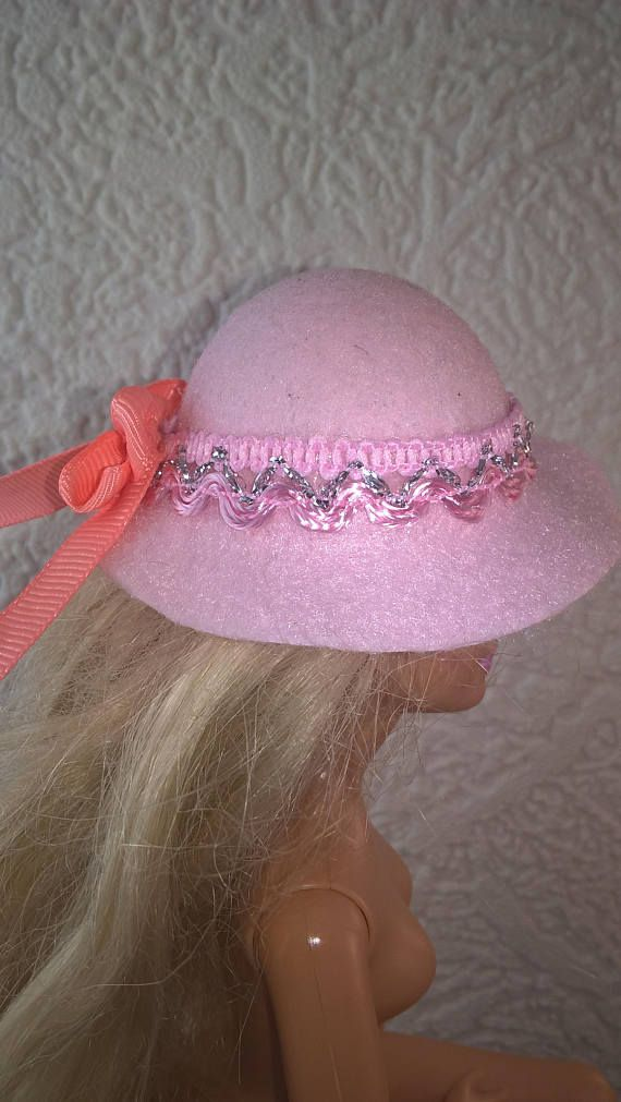 Pretty pink hat for Barbie. Hand made felt hat with hand tied