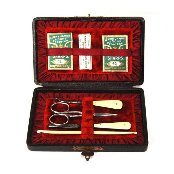 Antique Sewing Set Case Victorian Bone Tools Needle Packets Scissors Stiletto Buttonhook Bodkin Pocket Knife Thimble Box Circa 1890