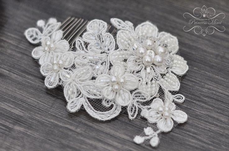 Braut Haarschmuck Spitze Perlen Headpiece Ivory  von Princess Mimi  auf DaWanda.com