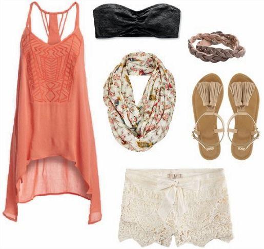 Orange top, black bandeau, white shorts, floral scarf, tan sandals