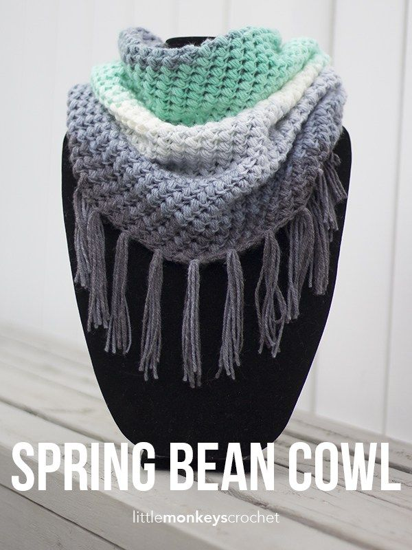 Spring Bean Cowl - free crochet pattern at Little Monkeys Crochet