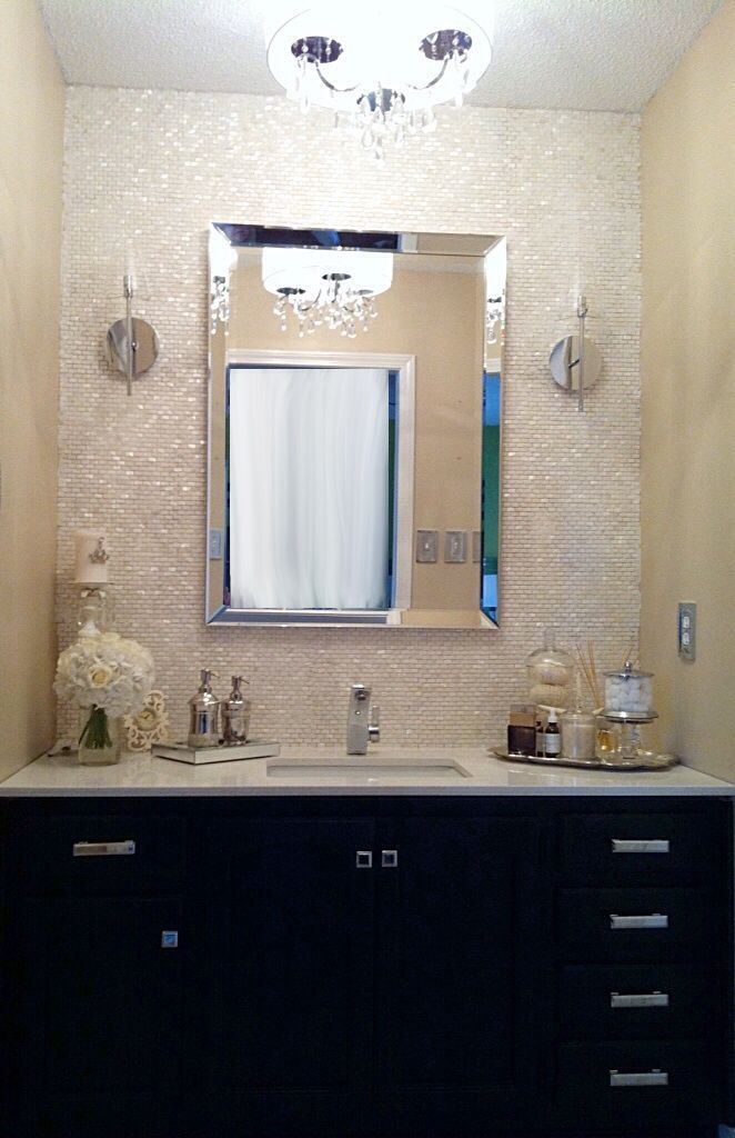 shellmother of pearl staggered mosaic backsplash  paint