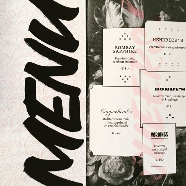 #Handlettering & #graphicdesign for the new bar in town #cafehelmers #greatfood #greatbeers #menu #amsterdamwest #yazoka #krulletter  #retype #dolly #pink #typelove #patterndesign #brushlettering #ligature #🖤 #greatcocktails #amsterdamlunch