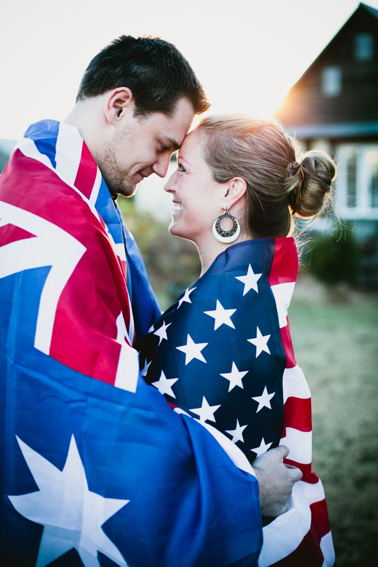 nationality themed flag engagement photo