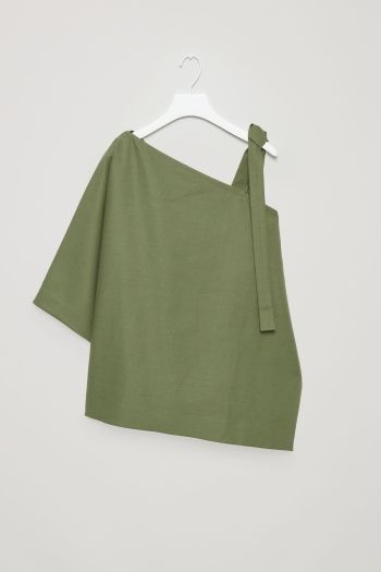 COS image 2 of Textured asymmetric top in Khaki Green