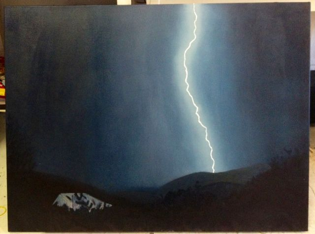 light- en- ing  oil on canvas  70 x 90 cm