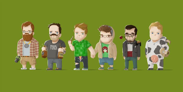 Achievement Hunter fan-art cartoon style  http://www.reddit.com/r/roosterteeth/comments/24ocso/i_drew_the_ah_crew_second_in_a_series_im_working/