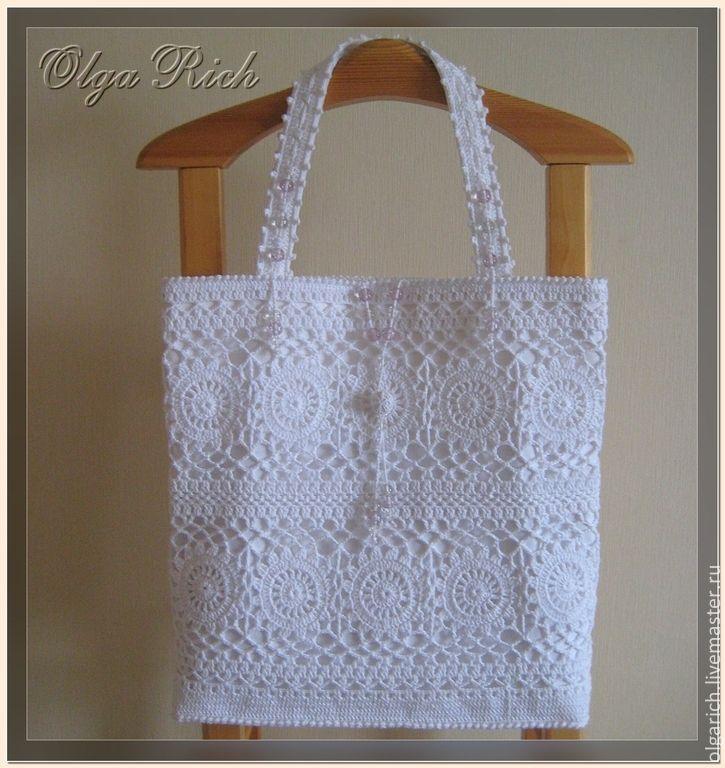 "Buy ""White beauty B"" MAXI - white, floral, bag handmade, knitted bag"