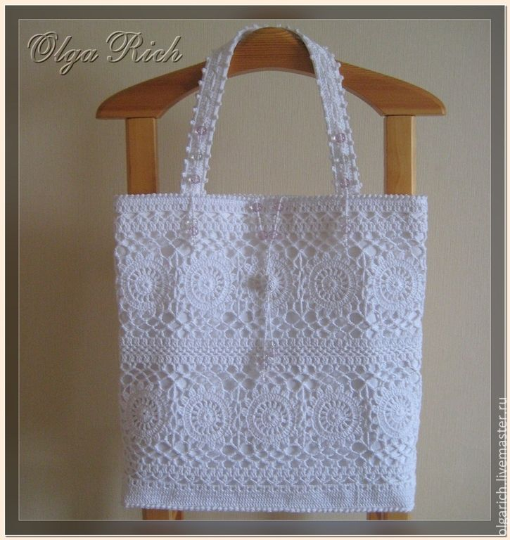 "Buy ""White beauty B"" MAXI - white, floral, bag handmade, knitted bag"