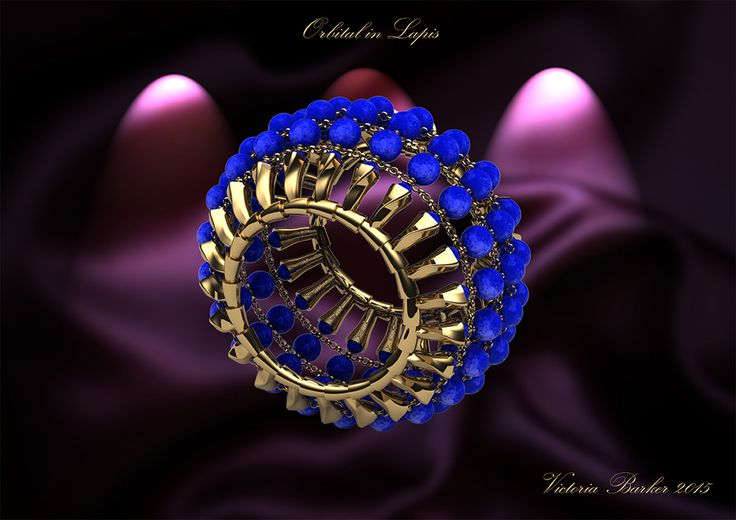 Orbital in Lapis is crafted from 44 solid 18 carat gold sand dunes which are set with 110 of the finest lapis lazuli beads and arrayed across 1 metre of fine 18 carat gold chain.  Prized throughout the ages for its intense colour, Lapis has been admired and worn by both Cleopatra and Tutankhamun.  A palette of blue and gold, an artwork of both extraordinary beauty and marvellous geometry.